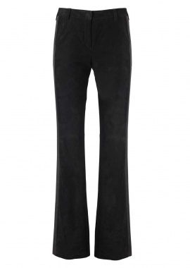 13345 Tux pants w. stripe, silky suede black