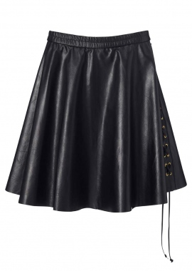 14334 Wide skirt w. string, jap. analin calf, black