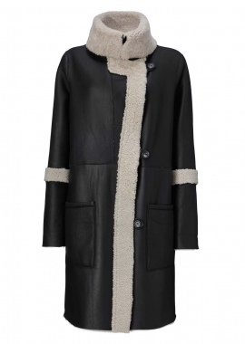 51130 Military coat, merino black/ white