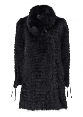 7079 Coat, dyed shadow fox, black