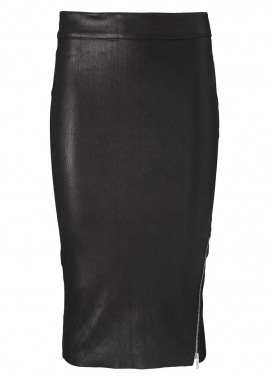 14332 Pencil skirt w. silver zipper, ela lamb caviar black