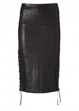 14327 Pencil skirt w. string, ela lamb black caviar
