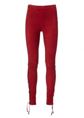 13348 Leggings  eyelets & string, ela suede burgundy