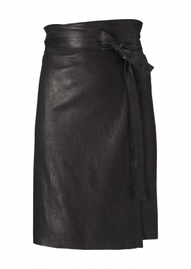14330 Wrap around skirt, ela lamb black caviar