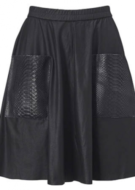 14333 Wide skirt w. python pockets, samantha black