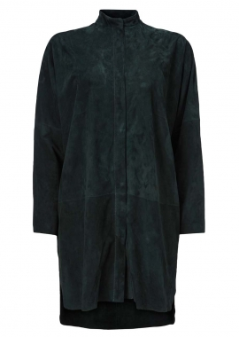15638 Shirt, long, suede forest green