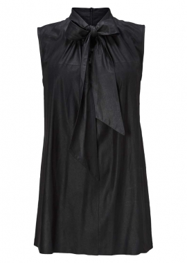 15640 Blouse w. bow, silk black, samantha black