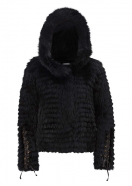 7076 Jacket w. hood, dyed shadow fox, black