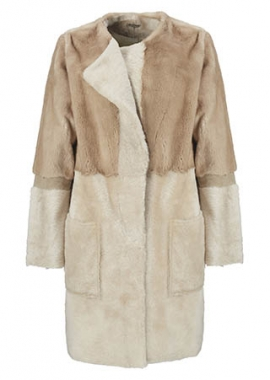 7080 Coat, Palomino mink and beige lacoon