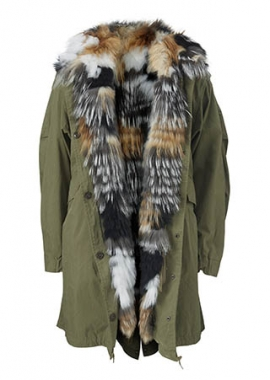 7089 Parker coat linned w. military fox mix