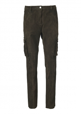 13371 Loose pants w. pockets, ela suede army