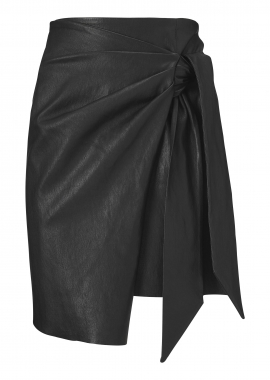 14350 Draped skirt, ela lamb caviar black