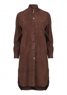15655 Oversize shirt, silky suede rust