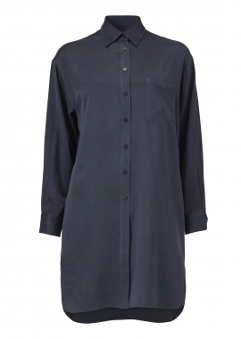 15659 Long classic shirt, blue silk