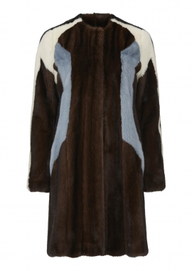 7097 Coat, brown mink, sky blue mink, pearl mink