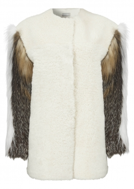 7103 Jacket, shearling recental snow w. fox sleeves