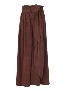 13373 Long wide pants, silky suede rust