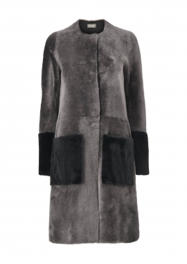 51143 Coat, merino neutral grey w. merino black