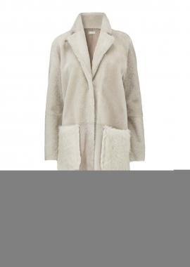 51145 Coat long, merino beige w. toscana beige