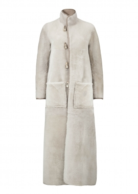 51146 Coat long, merino beige