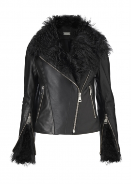 52181 Biker jacket black, w. silver zippers