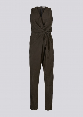15687 Jumpsuit silky suede grey