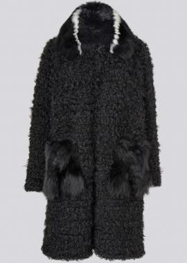 7122 Knittet kalgan w/fox collar