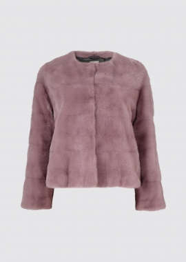 7118 Mink jacket round neck light rose