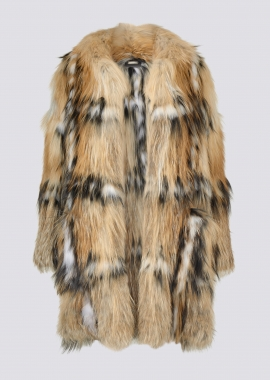 7119 Coat in gold cross fox/black dyed silver fox