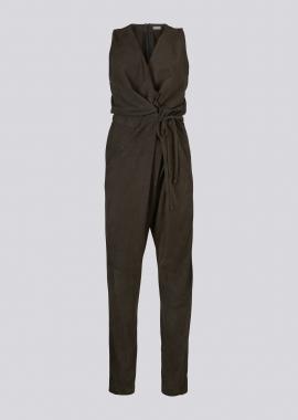 15687 Jumpsuit silky suede grey