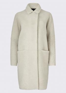 51157 Long coat merino black/white