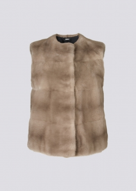 7116A Mink jacket pastel brown w/light rose