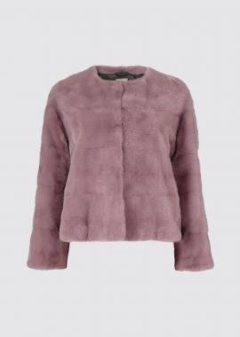 7118 Mink jacket round neck light rose