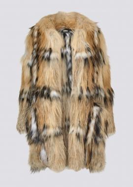 7119 Coat in gold cross fox/black dyed silver fox