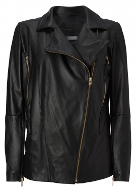 12416 Soft ana-line black, gold zip-per, blue silk lining