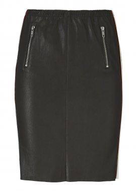 14355 Skirt, ela lamb black, w. lack stripes