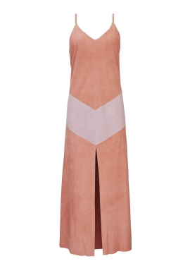 15676 Long dress, silky suede, coral and pink