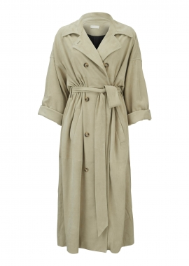 11311 Trench coat, ivory suede