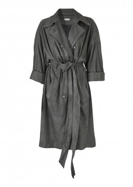 11313 Trench coat 3/4, grey crack mat
