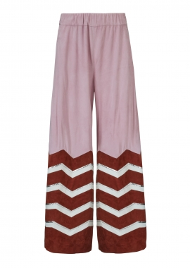 13381 Pants w. stripes, pink silky suede